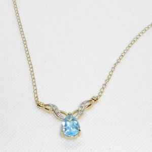 Jewelry - New Blue Topaz & Diamond Designer Necklace -